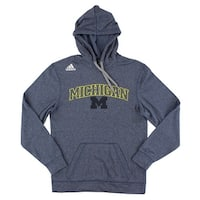 Adidas Mens Michigan University Ultimate Hoodie Blue - blue/grey/yellow/black/white