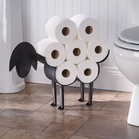 Art & Artifact Sheep Toilet Paper Roll Holder - Metal Wall Mounted or Free Standing Bathroom Tissue Storage, 7 Rolls