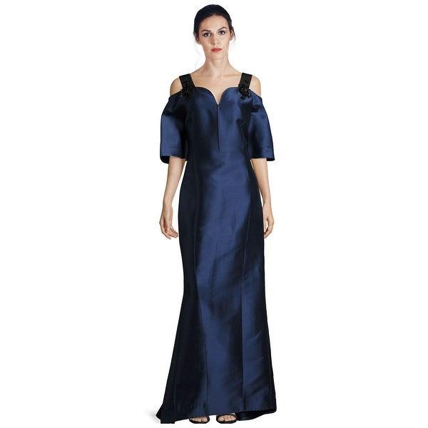 Shop Carolina Herrera Embellished Strap Cold Shoulder Evening Gown
