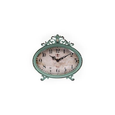 Green Antiqued Pewter Mantel Clock