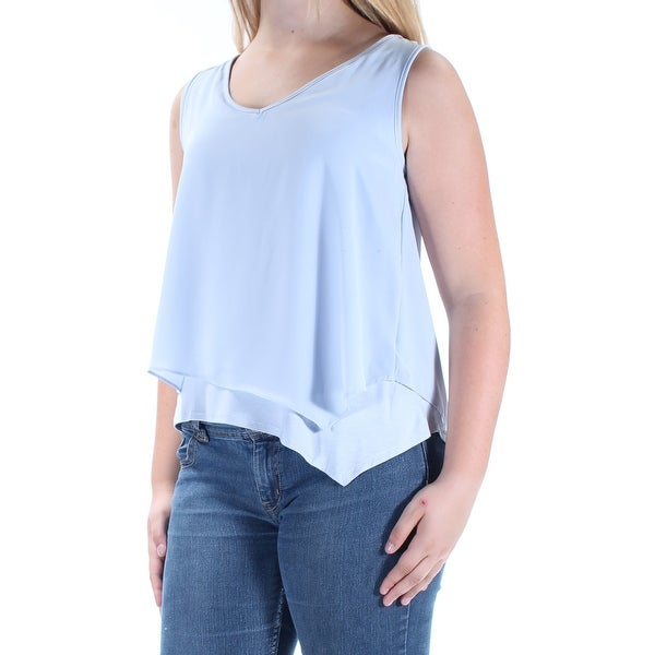 58796d7a2420ef Shop BAR III Womens Light Blue Sleeveless V Neck Top Size: S - On Sale -  Free Shipping On Orders Over $45 - Overstock - 21240113