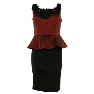 Beaded Colorblock Peplum Taffeta Sheath Dress - 4P
