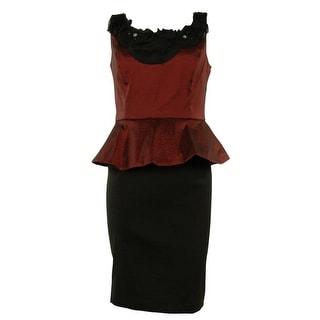 Beaded Colorblock Peplum Taffeta Sheath Dress - 4P