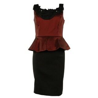 Beaded Colorblock Peplum Taffeta Sheath Dress - garnet black - 4P