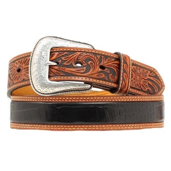 Nocona Western Belt Mens Gator Print Leather Brown Black