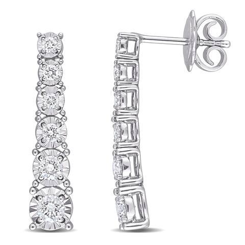 Miadora 14k White Gold 3/4ct TDW Diamond Graduated Linear Drop Earrings