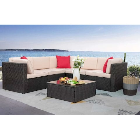Homall 6 Pieces Patio Furniture Sets Outdoor Sectional Sofa All Weather PE Rattan Patio Conversation Set Manual Wicker Couch