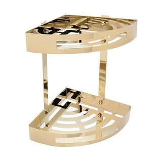 304 Stainless Steel 11.6-inch Two-Tier Bathroom Shower Corner Basket Gold Tone