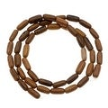 Oval Tube Wood Beads Brown 6-7mm x 4mm /16 Inch Strand - Thumbnail 0