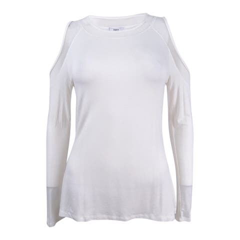Bar III Women's Cold-Shoulder Illusion Top (M, Washed White) - Washed White - M
