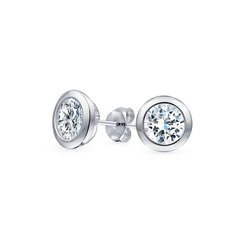 Brilliant Cut Solitaire CZ Martini Stud Earrings Sterling Silver