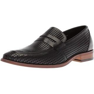 Stacy Adams Men's Belfair Moe Toe Penny Slip Loafer, Black, 12 M Us