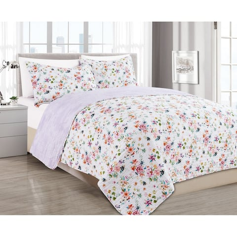 BARBARIAN by Barbra Ignatiev Digital Printed Wild Love Floral Lilac 2/3pc Quilt Set