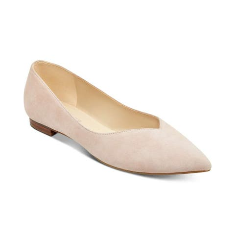 Marc Fisher Womens Analia3 Leather Pointed Toe Slide Flats