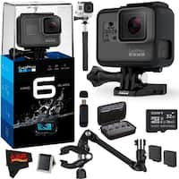 GoPro HERO6 Black + 32GB Class 10 Micro SDHC Memory Card + Large GoPro Accessory Case + (2) Rechargeable Batteries Advanced