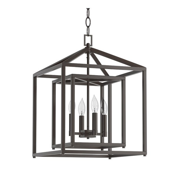 """Park Harbor PHPL5114 17"""" Wide 4-Light Single Tier Candle Style Chandelier with Lantern Style Shade"""