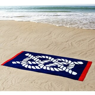 Seedling By Thomas Paul Nautical Knot Design Beach Towel, Navy Blue, 36x72 Inches - Blue
