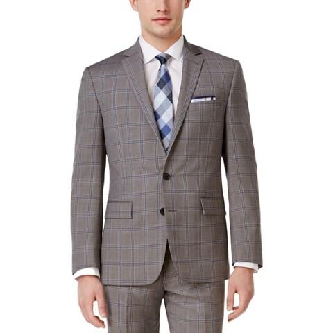 Ryan Seacrest Mens Two-Button Suit Jacket Wool Plaid - 36R