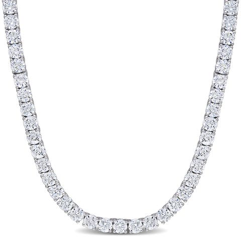 Miadora Sterling Silver 46 1/3ct TGW Cubic Zirconia Tennis Necklace - 17 in x 4.3 mm