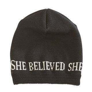 Parkhurst Women's She Believed She Could So She Did Winter Hat Knit Beanie-Black - One size