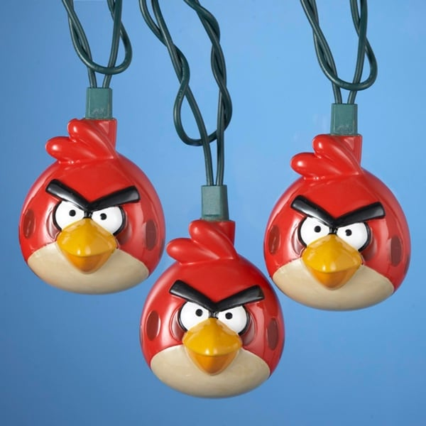 Set of 10 Red Angry Birds Game Christmas Lights - Green Wire