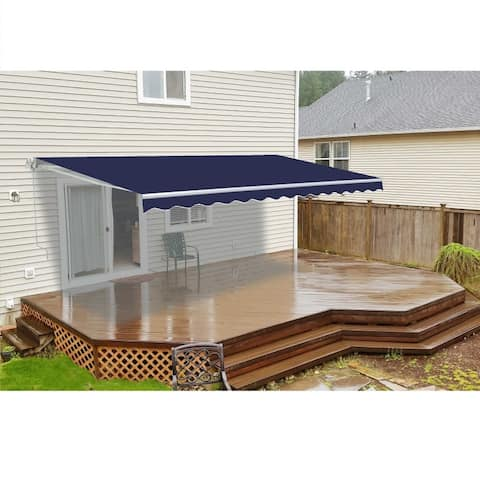 ALEKO Retractable 12 x 10 feet Awning Home Patio Canopy Blue