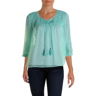 Two by Vince Camuto Womens Chiffon Crochet Trim Blouse