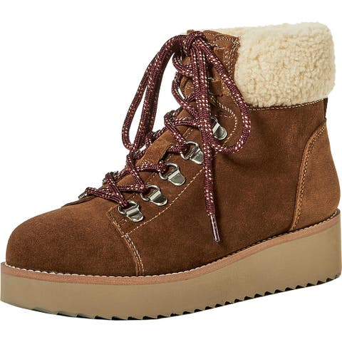 Sam Edelman Womens Franc Hiking Boots Suede Faux Fur - Toffee Suede