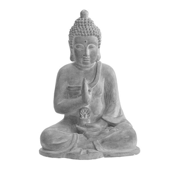 Sunjoy Dark Gray Decorative Buddha Garden Decor Statue Overstock 30634315
