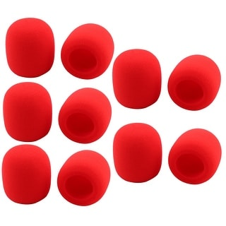 Household KTV Sponge Microphone Windscreen Protective Mic Cover Sleeve Red 10pcs