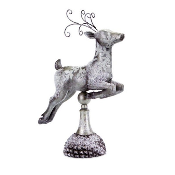 """17"""" Silver Snow Covered Right Facing Prancing Reindeer Christmas Table Top Decoration"""