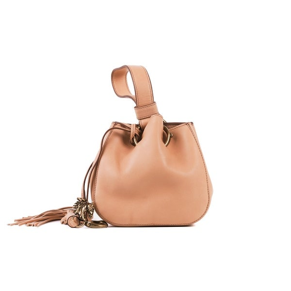 773610dde1c Roberto Cavalli Women's Mini Tan Leather Tassel Wristlet Bucket Bag