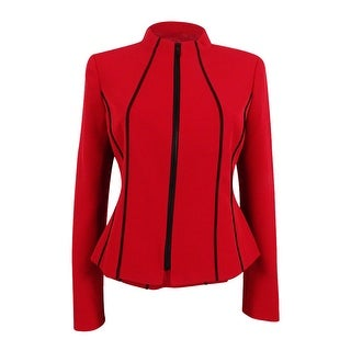 Kasper Women's Plus Size Crepe Zip-Front Piped-Trim Jacket - fire red/black