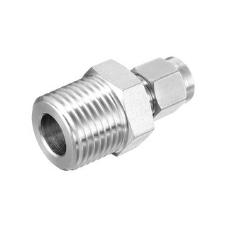 Compression Tube Fitting, NPT1/2 Male x §¶6 Tube OD with Double Ferrules