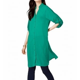 Link to Alfani Women's Blouse Green Size XXL Plus Tunic Roll-Tab Button-Down Similar Items in Tops