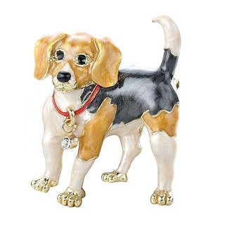 Adorable Gold Tone Hand Painted Puppy Dog
