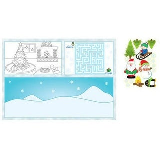 Club Pack of 96 Children's Christmas Placemat Activity Kits with Stickers 14.25""