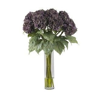 Nearly Natural Hydrangea Silk Flower Arrangement - Purple