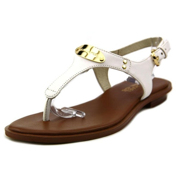 Michael Michael Kors MK Plate Women Open-Toe Leather White Slingback Sandal