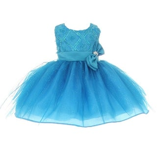 Baby Girls Turquoise Sequin Bow Sash Tulle Special Occasion Dress 3-24M
