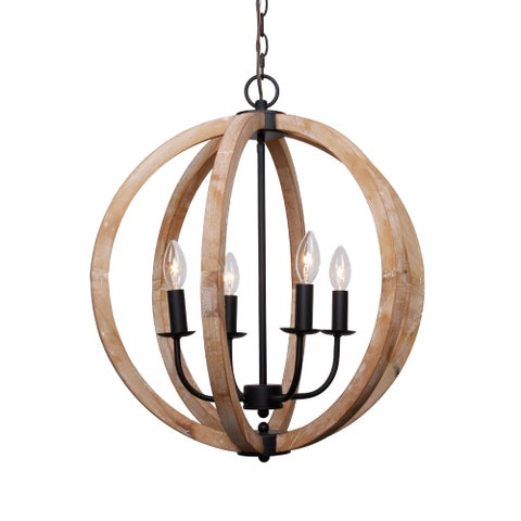 Antique 4-Light Distressed Wood Orb Chandelier