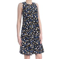 ANNE KLEIN Womens Black Printed Sleeveless Jewel Neck Above The Knee Fit + Flare Cocktail Dress  Size: 2XS
