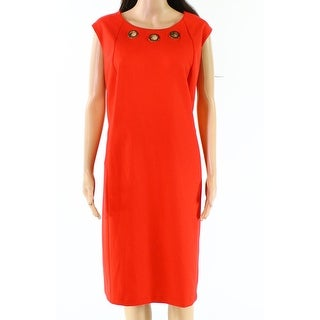 Calvin Klein NEW Red Womens Size 22W Plus Grommet Seamed A-Line Dress