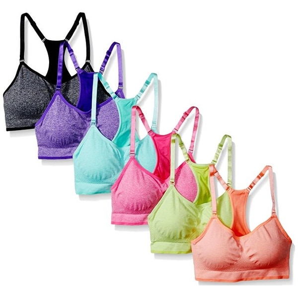 Women's 6 Pack Seamless Heather Color Padded Athletic Yoga Sports Bras