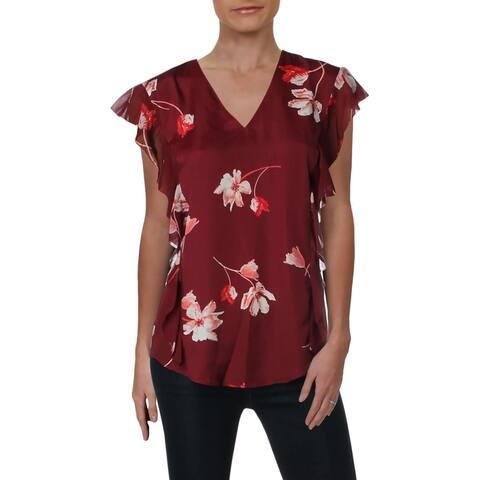 Lauren Ralph Lauren Womens Pemba Pullover Top Crepe Floral Print - Multi
