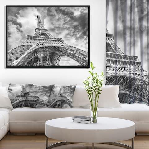 Designart 'Black and White View of Paris Eiffel Tower' Cityscape Framed Canvas Print