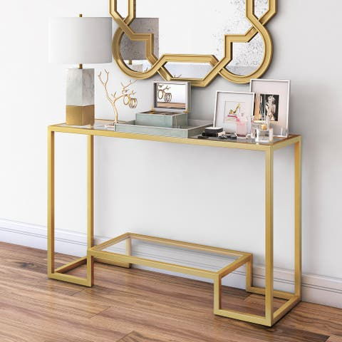 Silver Orchid Spira Geometric Console Table