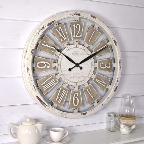 FirsTime & Co.® Antique Farmhouse Plaques Wall Clock, American Crafted, Antique White, Plastic, 20 x 2 x 20 in - 20 x 2 x 20 in