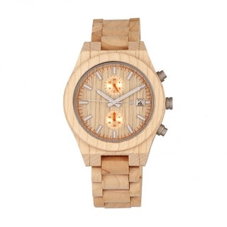 Earth Wood Castillo Unisex Quartz Chronograph Watch, Wood Band, Luminous Hands