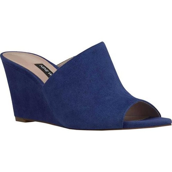 Shop Nine West Women s Janissah Wedge Sandal Dark Blue Suede - Free ... 970aedf44fe1